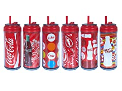 Cool Gear 6Pk of 16 oz Coke Cola Cans w/Straw