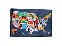 USA Recycled License Plate Map II