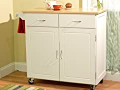 Large Kitchen Cart with Wood Top- White/Natural