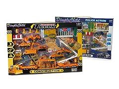 Diecast Vehicles Construction & Police Bundle- 80pcs