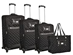 Quilted Nylon 4-Piece Luggage Set