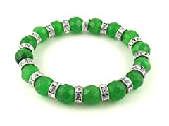 Green Catseye Crystal Stretch Bracelet