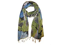 Kitara  Floral Clusters Scarf Lime Green