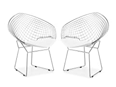Net Dining Chair White Set of 2