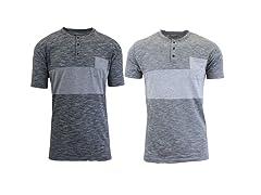Mens Short Sleeve Henley T-Shirt- 2 Pack