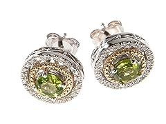 Silver & 14k Gold Peridot Earrings