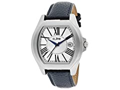 a_line Adore Silver Dial, Navy Blue Textured Band