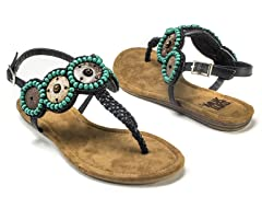 Harper Beaded Sandals, Black