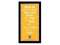 "Golden State Warriors 9.5"" x 19"" Sign"