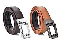Genuine Leather Ratchet Belt 1 & 2 Pack