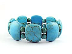 Genuine Turquoise Hammered Bead Stretch Bracelet