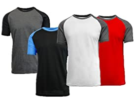Galaxy By Harvic 4-Pack Raglan Short Sleeve Shirt