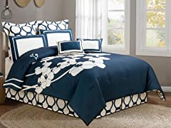 April Orchidea Flower 8 Piece Reversible Comforter Set- Queen