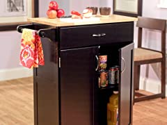 Kitchen Cart with Wood Top- Black/Natural