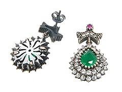SS Dyed Emerald & White CZ Genuine Semi-Precious Gemstone Earrings
