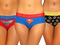 DC Superhero Lace Trim 3-Pack Panties
