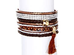 Multistrand Snakeskin Leather Bracelet