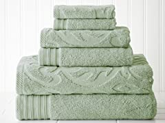 6-Piece Medallion Swirl Jacquard/Solid Towel Set