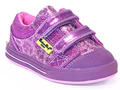 Double Strap Low Top - Animal Print Purple
