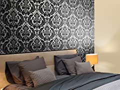 Heritage Damask Black Tiles