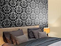 Heritage Damask Black Tiles