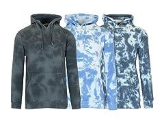 3PK Mens Tie-Dye Fleece Hoodie