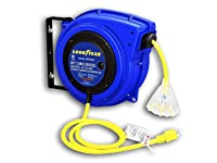 Deals on Goodyear Retractable Cord Reel 12AWG x 40 ft. 3C/SJTOW Triple Tap
