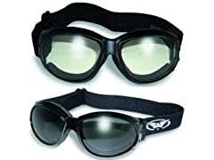 2 Eliminator Motorcycle Goggles Clear and Smoke Tinted