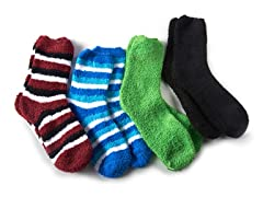 Chenille Slipper Socks 4 Pack, Assorted