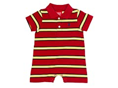 Red/Yellow Striped Polo Romper (0-12M)