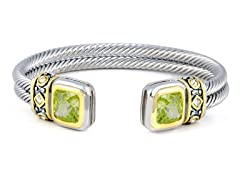 Regal Jewelry 18K Gold-Plated Double Square Bangle In Peridot Color