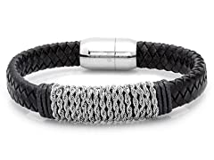 Men's Leather Rope Chain Bracelet