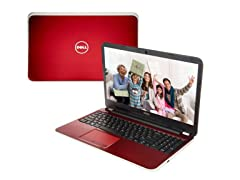 "Dell 15.6"" AMD Quad-Core Laptop - Red"