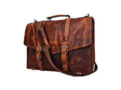 "17"" Leather Briefcase Satchel Bag"