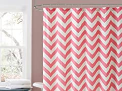 Declan Embossed Shower Curtain-Pink/Red