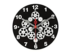 "12"" Gear Wall Clock w/Black Plexy Dial"