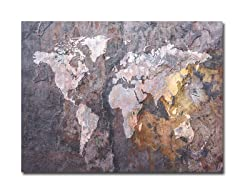 World Map - Rock  Canvas