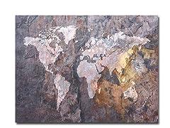 World Map - Rock  18x24 Canvas