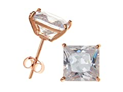 18K Rose Gold Plated 8mm CZ Studs