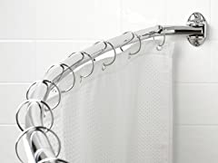 Zenith Curved Style Screw Mounted Shower Rod