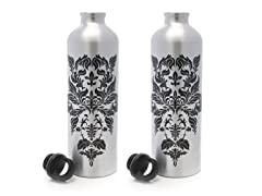 Gaiam Silver Damask Aluminum Bottle 2-Pack
