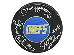 Hanson Brothers Charlestown Chiefs Signed Puck