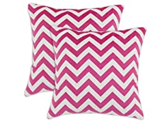 Silky Minky Pink Chevron 17x17 Pillows-S/2