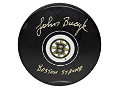 John Bucyk Bruins Signed Puck,Boston Strong