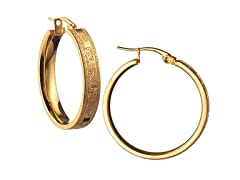Stainless Steel Gold Laser Cut Hoop Earrings