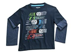 Thomas Long Sleeve Tee - Navy (2T-4T)