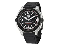 Men's GMT Black Dial Black Alligator