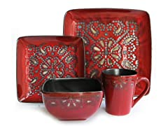 American Atelier Marquee Red 16-pc Dinnerware Set