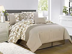Leila 10Pc Comforter Set-Taupe - Queen