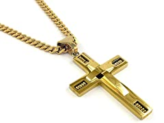 Cross Pendant With Curb Chain